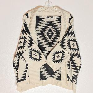Aztec Tribal Knit Open Shawl Kimono Style Cardigan